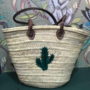 cactus straw tote bag