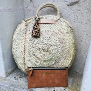 straw tote with pom pom
