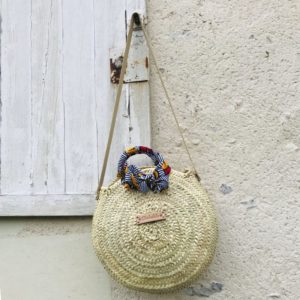 straw bag tote with wax