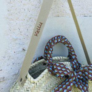 personalized round straw bag wax